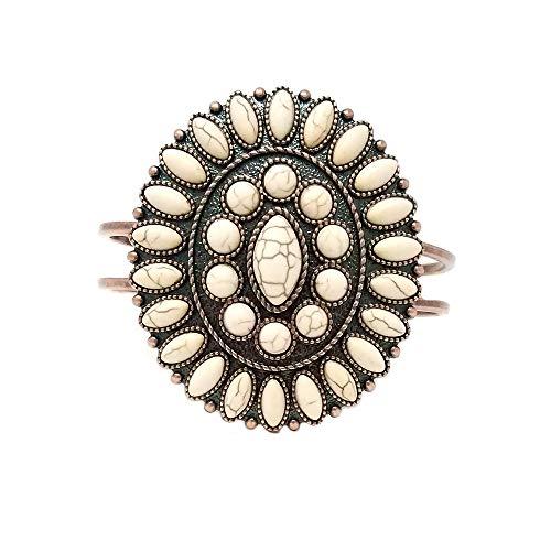 Turquoise Western Concho Design Oval Hinge Bracelet (White)