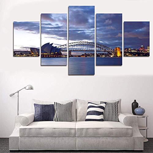 LSDAMN 5 Bilder 5 Stück Seestück Malerei Moderne Home Wandkunst Leinwand Segelbilder für Wand Wandbilder für Wohnzimmer Dekor
