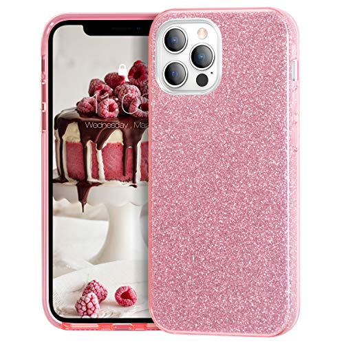 MATEPROX Compatible with iPhone 12 Pro case Compatible with iPhone 12 Cases Glitter Bling Sparkle Cute Girls Women Protective Cover (Pink)