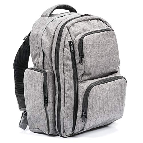 Large Capacity Diaper Bag Backpack- with YKK Zippers, Two Packing Cubes, Wet/Dry Bag, Changing Pad and Stroller Straps by Bably Baby- Stylish Unisex Design (Grey)