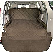 F-color SUV Cargo Liner for Dogs, Waterproof Pet Cargo Cover Dog Seat Cover Mat for SUVs Sedans Vans with Bumper Flap Protector, Non-Slip, Large Size Universal Fit, Brown