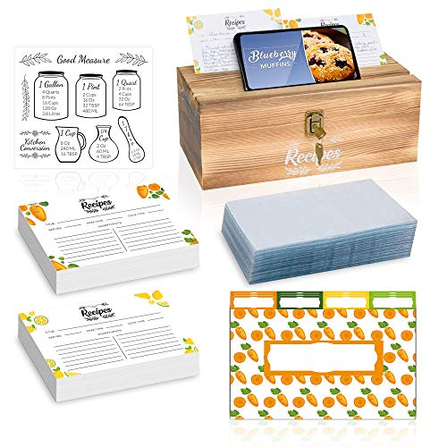 Torched Light Black Recipe Box With Phone Holder, Lock, Cards and Card Protector- 152 Index Cards 4x6, 152 Card Protectors, 16 Dividers and Measurement in Recipe Card Box (Large)