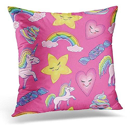 Pillowcase,Colorido Patrón Animal Unicornio Arco Iris Nubes Estrella Corazón Caramelo Caca Magia Rosa Diseño Niño Vacaciones Atractivo Novedad Fundas De Cojines Para Mayor Comodidad Y Convenienci
