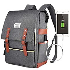 【MULTIPLE COMPARTMENTS】2*side pockets for water bottle or umbrella. 2*front pocket with button and zipper(One big and one small). 1 * laptop & iPad pocket with hook and loop fastener. 1 * main compartment. 【HUMANIZED DESIGN】Straps use 3D honeycomb de...