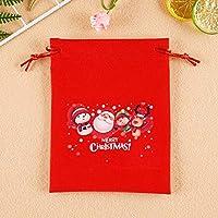 ギフトバッグ クリスマスギフトバッグ かわいい 赤 ラッピング袋 包む 小物の収納 巾着 飾り クリスマス ホリデーギフトバッグ サンタクロース雪だるまのアイデアギフト袋-E(5個)_20*25cm