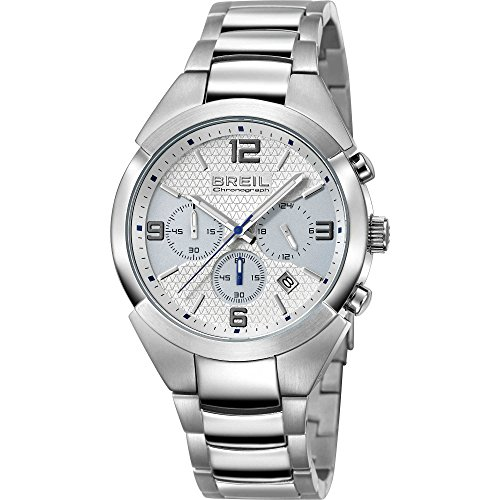 Breil Reloj de Pulsera analógico de Cuarzo para Hombre, Talla única, Color Blanco y Plateado