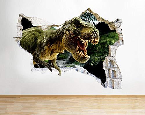 Pegatinas de pared Dinosaurio Cool Kids Dormitorio Smashed Wall Decal 3D Art Stickers Habitación de vinilo