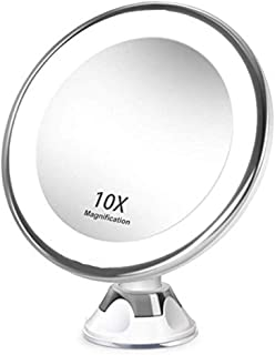 Makeup Mirror Vanity Mirror with Lights, Portable 10X Magnification Mirror 360 Degree Rotatable with Strong Suction Cup