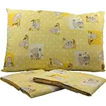 Sábanas encimera Cuna Mafalda cm.Para colchón 180x 120cm). 65x 130–Lienzo impreso–colores rosa/azul/verde Fantasia oso–Made in Italy amarillo