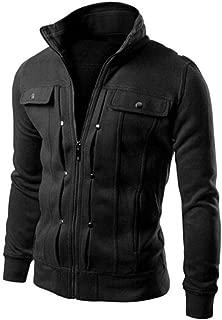 Forthery Men's Stand Collar Active Lightweight Slim Zipper Bomber Jacket (Black, XXL)