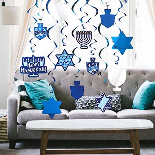 The Dreidel Company Hanukkah Swirl Decorations, Includes 12 Swirls with Foil Hanukkah Cutouts 24' and Swirls Alone Hang 18' (Single)