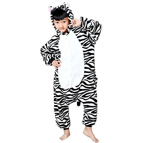 Missbleu Deguisement enfant pyjama combinaison animaux pyjama polaire enfant Zebre taille 140