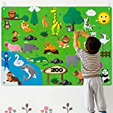 WATINC Zoo Animal Felt Story Board Set 3.5Ft 42Pcs Preschool Safari Themed Storytelling Flannel Jungle Wild Woodland Animals Early Learning Interactive Play Kit Wall Hanging Gift for Toddlers Kids