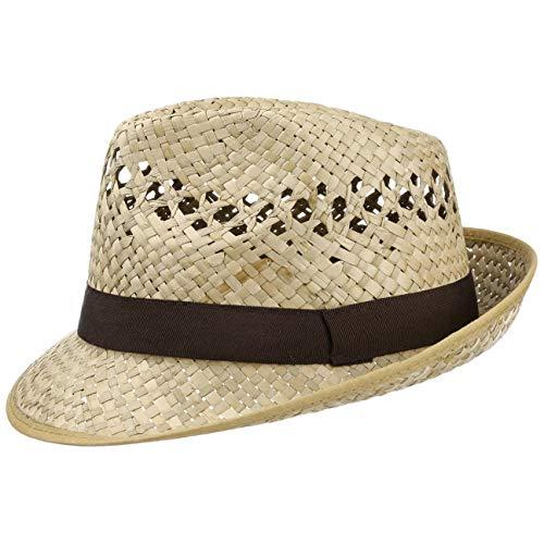 Lipodo Classic Trilby Strohhut Sommerhut Sonnenhut Fedora Hut Strandhut für Damen Herren Sonnenhut Strohhut mit Ripsband, mit Einfass Frühjahr Sommer,Herbst Winter (60 cm - Natur)