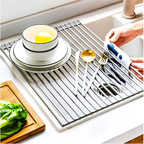 """Roll Up Dish Drying Rack 16.5""""X13.8"""" Over The Sink Stainless Steel Portable Dish Rack Dish Drainer Over Sink Foldable Stainless Steel"""