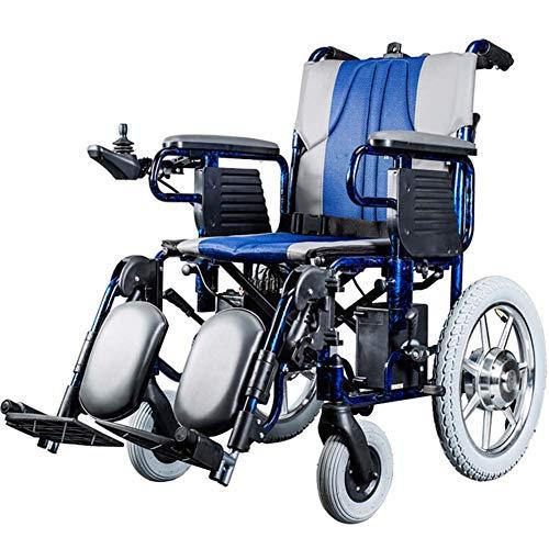 Faltbarer Leichter Elektrischer Rollstuhl mit Joystick, nur 2kg mit Li-Ion Battery, 150 kg Nutzlast,Gummihinterräder für ältere und behinderte Menschen