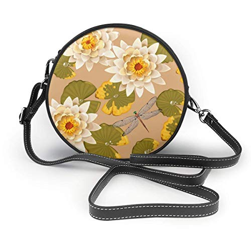 Seaml Dragoy y Lotus Flower Vector Image Mujer Mano Redonda Crossbody Sra. hombro Menger Bolso personalizado Tote