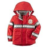 Carter's Little Boys' Hooded Rain Jacket (L/7, Red Fireman)