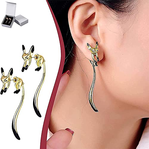 Lyshbzd Cute Long Tail Fox Earrings, Enamel Glaze Drop Earrings, Lucky Dangle Earrings, Long Tassels, Fashion Jewerly Gift for Women, with Gift Box (Gold)