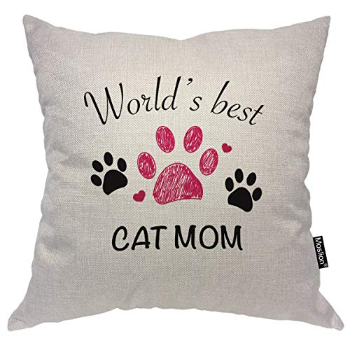 Moslion World's Best Cat Mom Throw Pillow Cover Animal Footprint Paw Pet Pattern Wildlife Cute Cartoon Square Pillow Case Cushion Cover for Home Car Decorative Cotton Linen 18x18 Inch