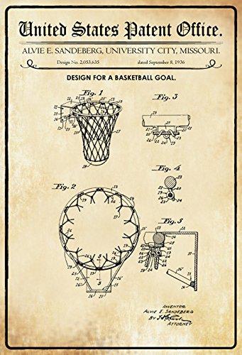 Schatzmix Patent Entwurf Basketball-Korb-Sandeberg Metallschild Wanddeko 20x30 cm tin Sign Blechschild, Blech, Mehrfarbig
