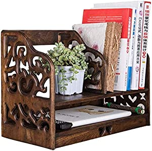 BFENGHUANG Teak Antique Bookshelf, Simple Desktop Shelf Storage Shelf 41 X 20 X 30 cm