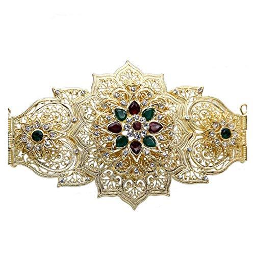 ZCPCS Vestido de Mujeres Europeas Cinturón de la Cintura Joyería de Boda Dorado Color de Plata marroquí Celftan Cinturón Metal Hebilla Punk Damas Regalo (Belt Length : 1040mm, Color : XY1232red)