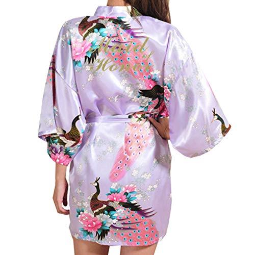 Kunfang Mujeres Floral Peacock Kimono Bata de Baño Ropa de Dormir de Rayon Dama de Honor Traje de Boda Vestido de Noche Sexy