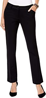 Womens Faux Leather Trim Straight Leg Dress Pants