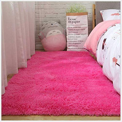 ZWWZ Shaggy Teppich Seidig, Plüsch, Massivfarbe, Moderne DEACUTE; COR, Plüsch, für Wohnzimmer, Sofa, Spaziergang, Schlafzimmer (Couleur: Rose Rot, Schallplatte: 60x120 cm) HAIKE
