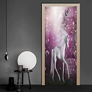 Stickers Unicorn in Rose Garden Summer Flying Butterflies Romance Fairy Tail Themed Art Self-Adhesive Door Decals Great Quality, Easy to Stick Pink White 17.1 x 78.7 Inch