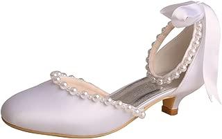 Wedopus MW514 Women Pumps Closed Toe Kitten Heel Pear Edge Ribbon Satin Wedding Shoes for Bride
