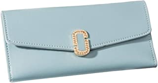 Pusaman New Women's Wallet, Long Section of The Simple Buckle Three fold Wallet, Fashion Clutch (Color : Blue)