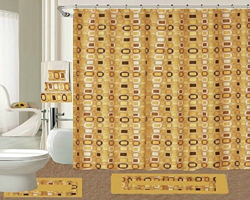Daniel's Bath & Byound 18 Pc Set Metro Shower Curtain, Gold