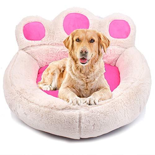 miaosss huisdierbed hondenbed, afneembaar wasbaar, orthopedisch en antislip kussen, hondenkussen met knuffelig pluche, beschikbaar in vier seizoenen maat S-XL Large beige