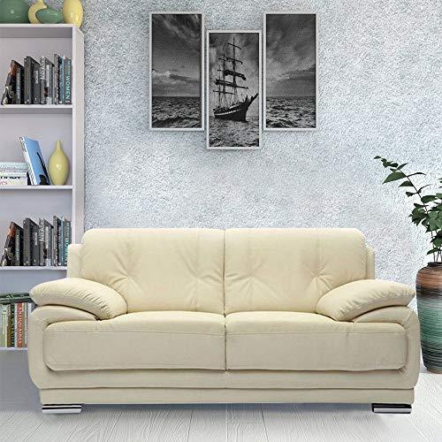 Furny Rocco Leatherette 2 Seater Sofa Set (Cream)