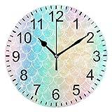 Wamika Wall Clock Rainbow Mermaid Scales Clock Silent Non Ticking Round Wall Clocks Decorative, Fish Tail Ocean Clocks 10 Inch Battery Operated Quartz Analog Quiet Desk Clock for Home Office