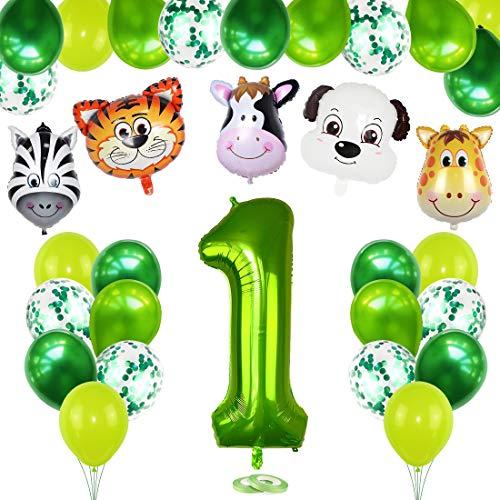 1 Año Selva Fiesta de Cumpleaños Decoracion, 1er Primer Cumpleaños Decoración Set con Foil Globo Número 1 Verde y Bosque Animal Globos para Niño Niña Cumpleaños Baby Shower