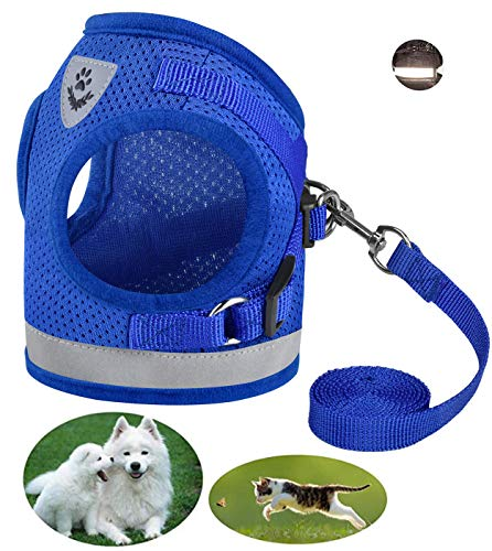Dog and Cat Universal Harness with Leash set , Escape Proof Cat Harnesses - Adjustable Reflective Soft Mesh Corduroy Dog Harnesses - Best Pet Supplies