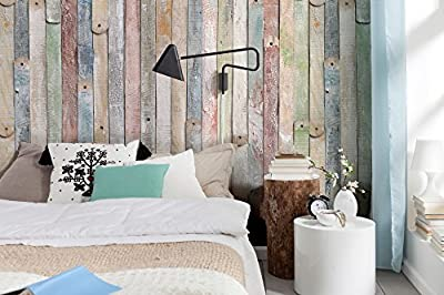 Komar 4-910 Vintage Wood 4-Panel Wall Mural by Brewster Wallcovering Co 72x100x0.125