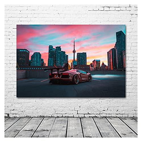 RHWXAX Supercar Aventador City Night Skyscrapersimagen Arte de la Pared Pósteres Tela Imprimir Lienzo Pinturas para la decoración de la Sala de Estar 20x28 Inch Sin Marco