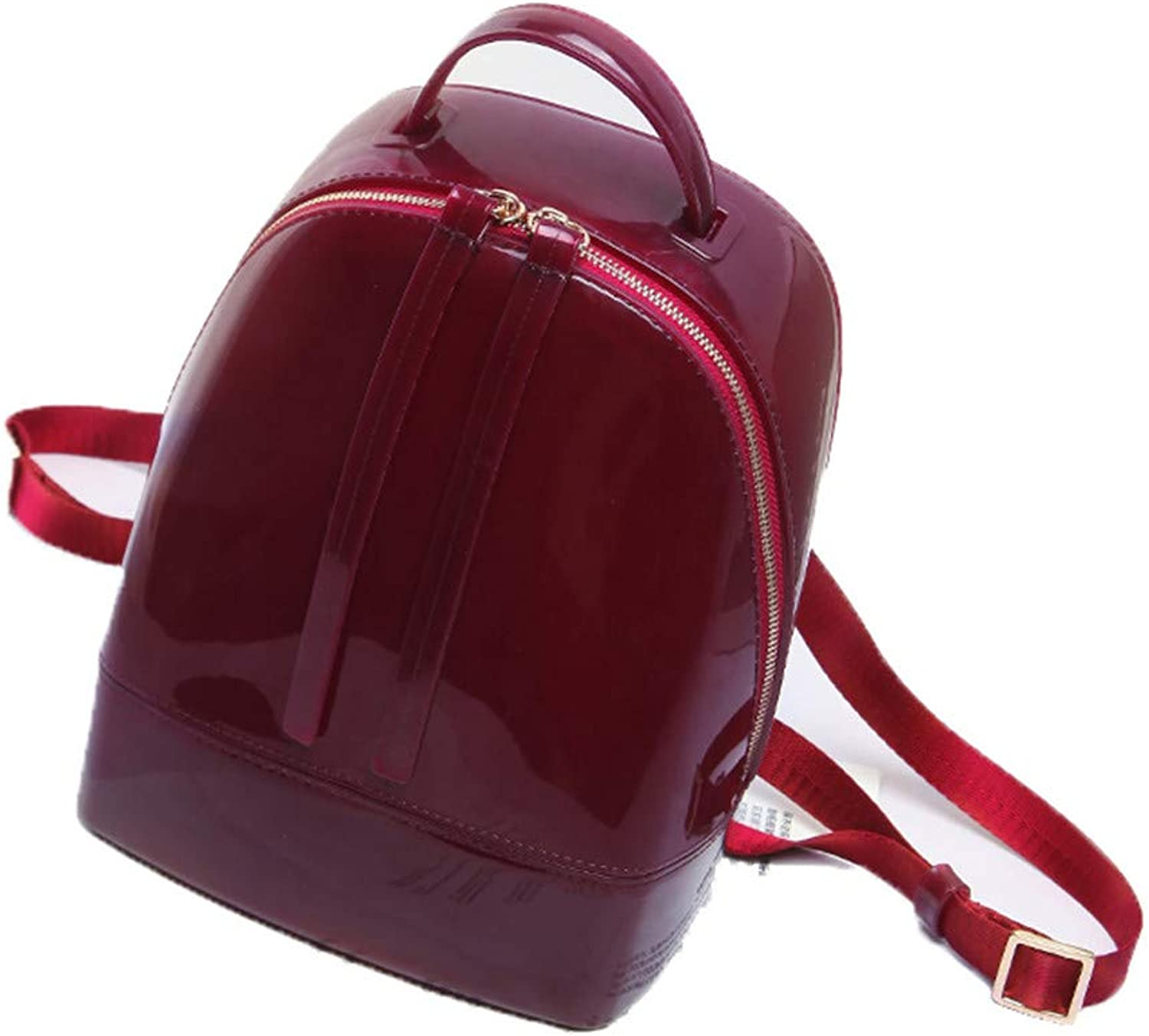 Silicone Backpack Female Travel Bags Girl School Bag Lady Waterproof Jelly Bag Burgundy Small