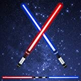 FEROXO LED Light Saber Glow Sword - 2-in-1 FX Double Bladed Dual Sabers with 4 Colors and Sound Light Sword for Kids