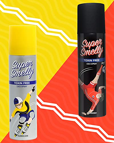 Super Smelly Whoosh & Hurricane Deodorant Spray For Men and Women | No Paraben, Sulphate or Chemicals Combo 300 ml (Pack of 2)
