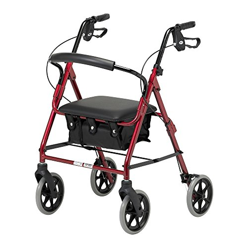 Days Lightweight Folding Four Wheel Rollator Walker with Padded Seat, Lockable...