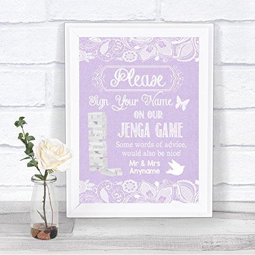 Lila jute & kant effect Jenga spel boodschap gepersonaliseerde bruiloft teken afdrukken Large A3 Black/Gold/White