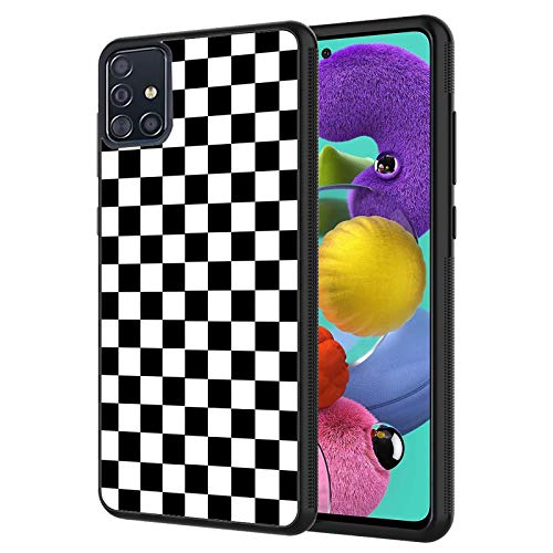 Galaxy A51 Case,Black White Checkered Design Shockproof Slim Anti-Scratch TPU Rubber Protective Case Cover for Samsung Galaxy A51
