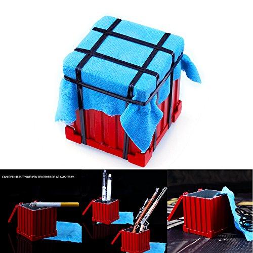 Konesky PUBG Drop Air Box, Multifunktionale Aufbewahrungsbox Rucksack Schlüsselanhänger Schlüsselanhänger Essen Huhn Spiel Sammlung Metall Aschenbecher Bleistift Container Legierung Ornamente