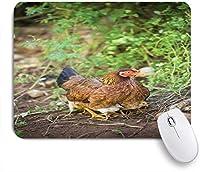 ECOMAOMI 可愛いマウスパッド 鶏とひよこハーブのぼやけた背景を持つ彼女の赤ちゃんの家畜母鶏 滑り止めゴムバッキングマウスパッドノートブックコンピュータマウスマット