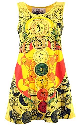 Guru-Shop Mirror Tank Top, Longshirt, Minikleid, Damen, Meditation Om/Gelb, Baumwolle, Size:S (36), Bedrucktes Shirt Alternative Bekleidung
